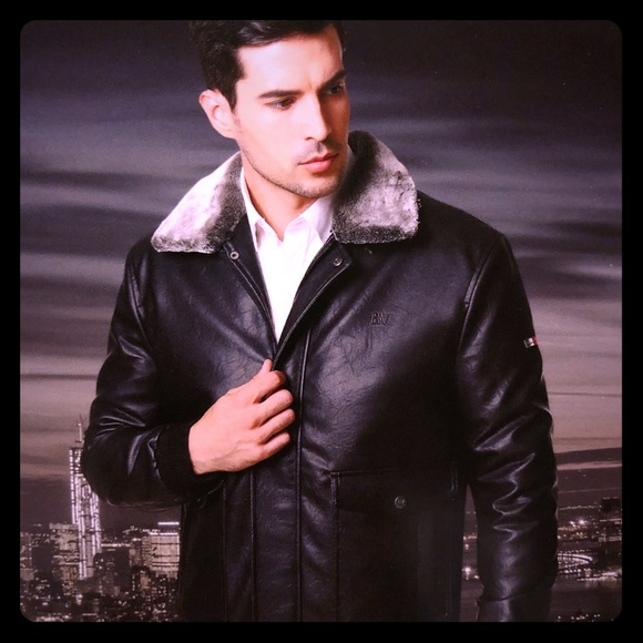 c823923ad BV Italian Leather Jacket with fur collar NWT